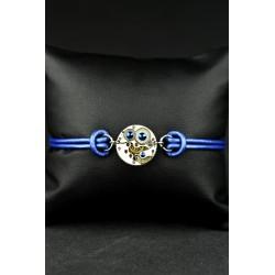 """Bracelet mécanique cuir Omicron """"Blue"""""""