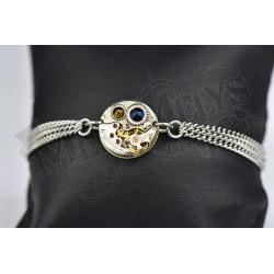 "Bracelet mécanique triple Chaîne ""Dark Crystal Rainbow"