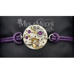 """Bracelet mécanique cuir """"Amethyst"""""""
