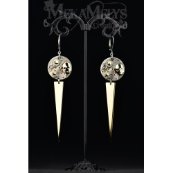 "Boucles d'oreilles ""Spiky skull "" Gold"
