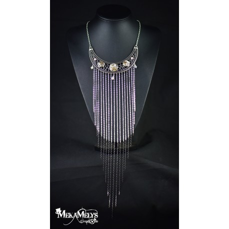 """Collier plastron """" Waterfall """"Crystal"""