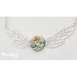 "Collier ""Dragonfly"" Blue zircon"