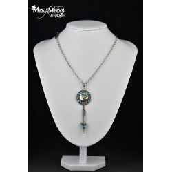 "Collier steampunk ""Chronostasis"" Blue"